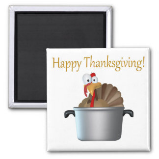 Funny Turkey, Happy Thanksgiving Day 2 Inch Square Magnet