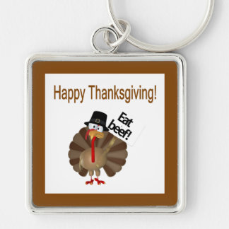 Funny Turkey, Happy Thanksgiving Silver-Colored Square Keychain