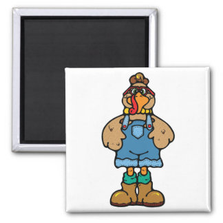 funny turkey in overalls 2 inch square magnet