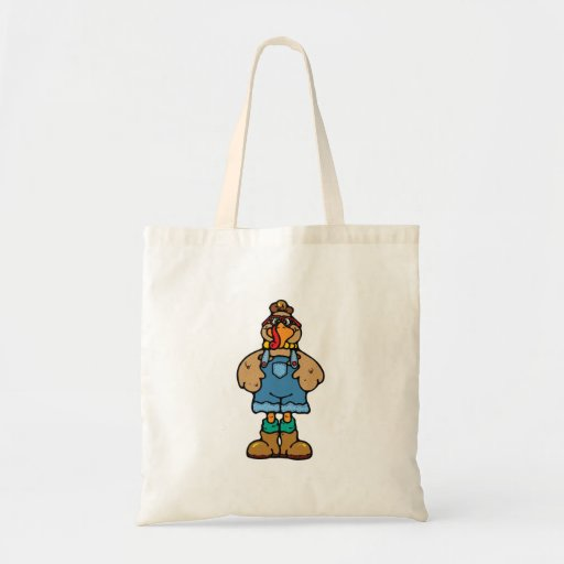 funny turkey in overalls bags