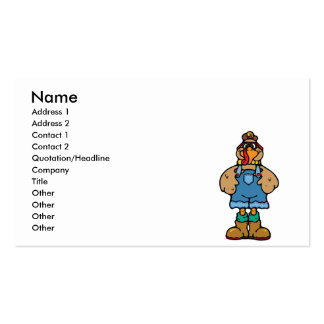 funny turkey in overalls Double-Sided standard business cards (Pack of 100)