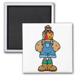 funny turkey in overalls magnet