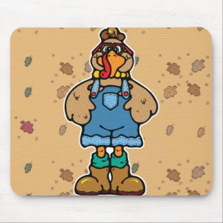funny turkey in overalls mouse pad