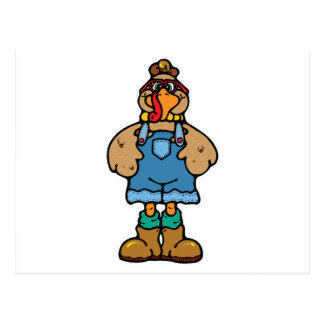 funny turkey in overalls postcard