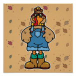 funny turkey in overalls posters
