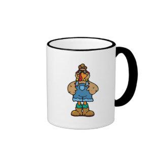 funny turkey in overalls ringer coffee mug