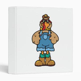 funny turkey in overalls vinyl binders