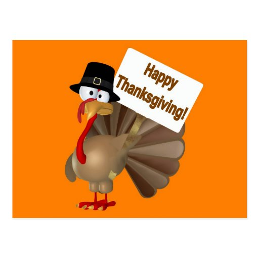 Funny Turkey saying ''Happy Thanksgiving!'' Postcards