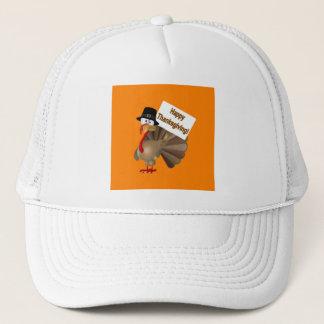 Funny Turkey saying ''Happy Thanksgiving!'' Trucker Hat