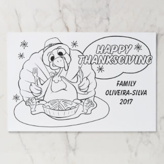 Funny Turkey Thanksgiving Colouring Placemats