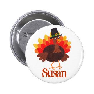Funny Turkey - Thanksgiving Day Name Tag Pin