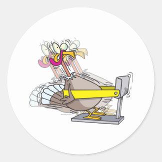 funny turkey thanksgiving diet cartoon classic round sticker
