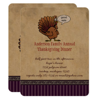 Funny Turkey Thanksgiving Dinner Invitation