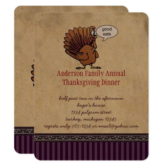 Funny Turkey Thanksgiving Dinner Invitation