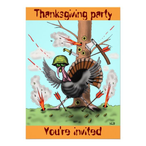 Funny turkey Thanksgiving party invitation card