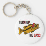 Funny TURN UP THE BASS design Basic Round Button Keychain