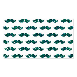 Funny Turquoise Glitter Mustache Pattern Printed Double-Sided Standard Business Cards (Pack Of 100)