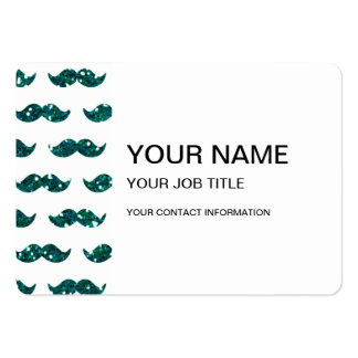 Funny Turquoise Glitter Mustache Pattern Printed Large Business Cards (Pack Of 100)