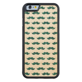 Funny Turquoise Glitter Mustache Pattern Printed Carved Maple iPhone 6 Bumper Case