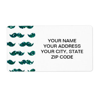 Funny Turquoise Glitter Mustache Pattern Printed Label