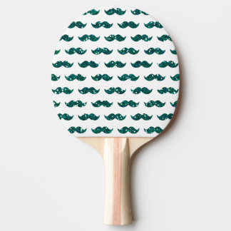 Funny Turquoise Glitter Mustache Pattern Printed Ping-Pong Paddle
