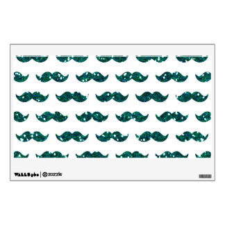 Funny Turquoise Glitter Mustache Pattern Printed Wall Sticker