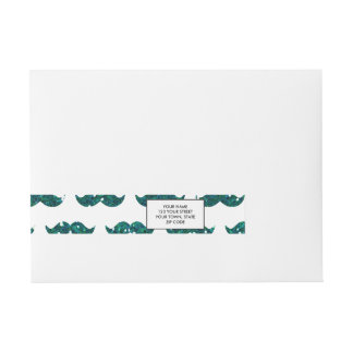 Funny Turquoise Glitter Mustache Pattern Printed Wrap Around Address Label