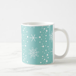 Funny Turquoise Snowflakes Pattern Coffee Mug