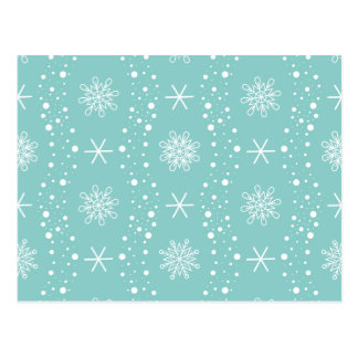 Funny Turquoise Snowflakes Pattern Postcard