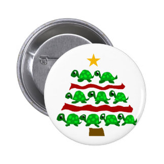Funny Turtle Art Christmas Tree Design 2 Inch Round Button