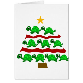 Funny Turtle Art Christmas Tree Design Greeting Card