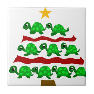 Funny Turtle Art Christmas Tree Design Small Square Tile