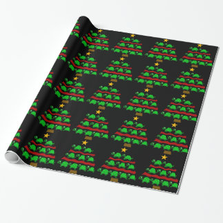 Funny Turtle Art Christmas Tree Design Wrapping Paper