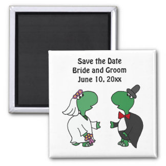 Funny Turtle Bride and Groom Wedding Art 2 Inch Square Magnet