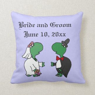 Funny Turtle Bride and Groom Wedding Art Throw Pillows