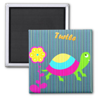 Funny Turtle Cartoon Floral Fridge Magnet