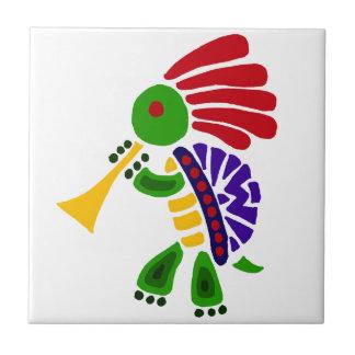 Funny Turtle Dancing Kokopelli Style Ceramic Tile
