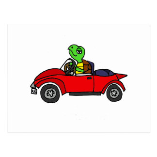 Funny Turtle Driving Red Convertible Car Postcard