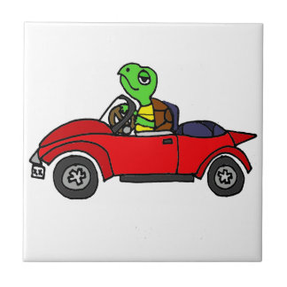 Funny Turtle Driving Red Convertible Car Tile