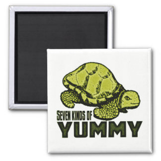 Funny Turtle Eater 2 Inch Square Magnet