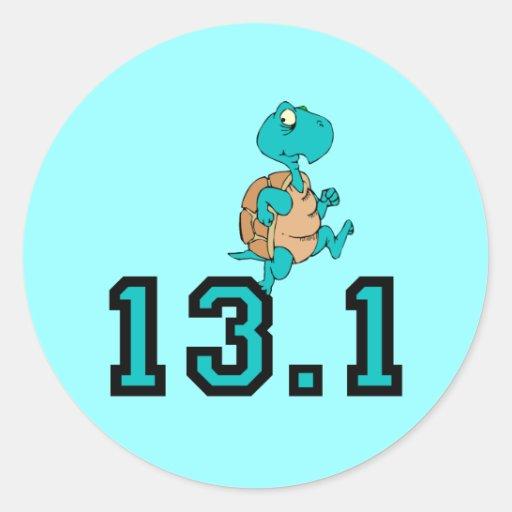 Funny turtle half marathon round stickers