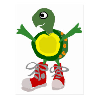 Funny Turtle in Red High Tops Shoes Postcard