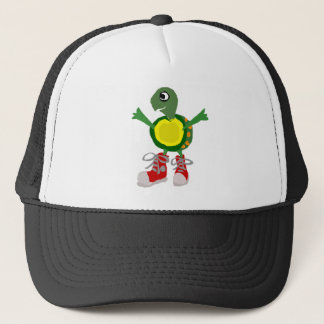 Funny Turtle in Red High Tops Shoes Trucker Hat