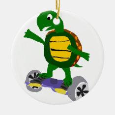 Funny Turtle On Hoverboard Original Art Ceramic Ornament at Zazzle