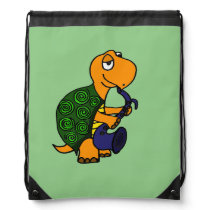 Funny Turtle Playing the Saxophone Drawstring Backpack