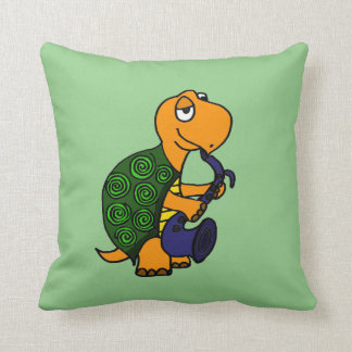 Funny Turtle Playing the Saxophone Throw Pillow