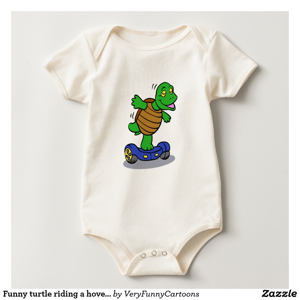 Funny turtle riding a hoverboard baby bodysuit - Adorable Baby Bodysuit Designs