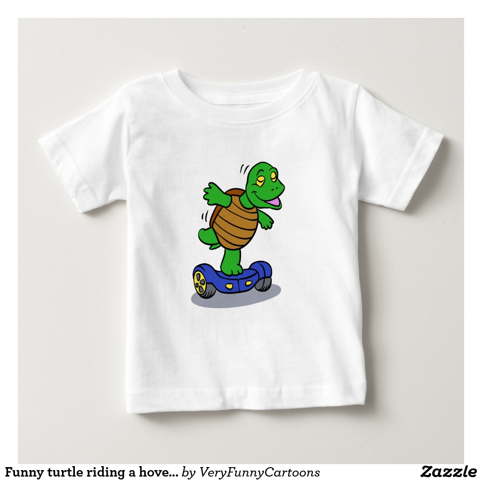 Funny turtle riding a hoverboard baby T-Shirt - Soft And Comfortable Baby Fashion Shirt Designs