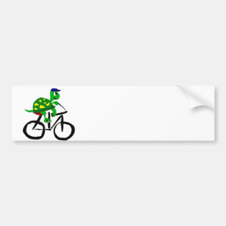 Funny Turtle Riding Bicycle Bumper Sticker