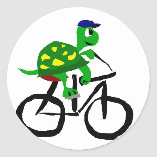 Funny Turtle Riding Bicycle Classic Round Sticker
